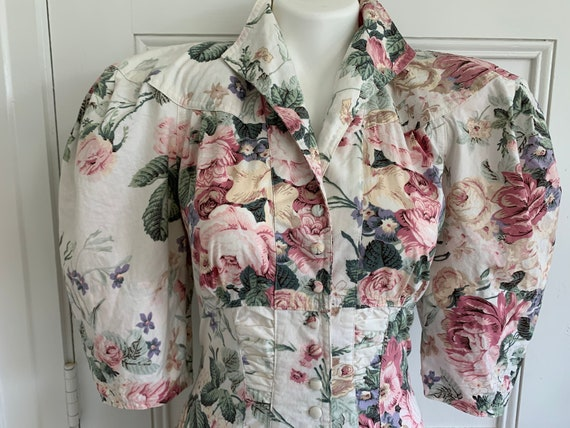 80s does 40s Vtg Floral BIG PUFF SLEEVES wiggle D… - image 6
