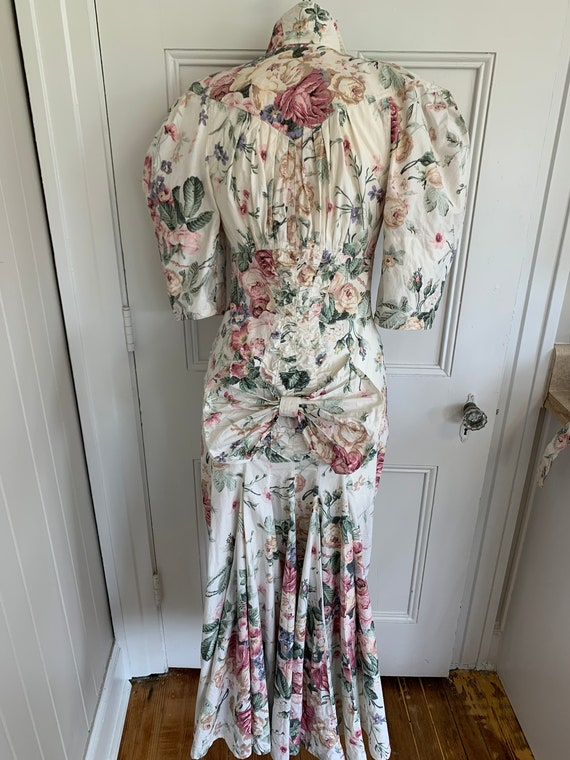 80s does 40s Vtg Floral BIG PUFF SLEEVES wiggle D… - image 5