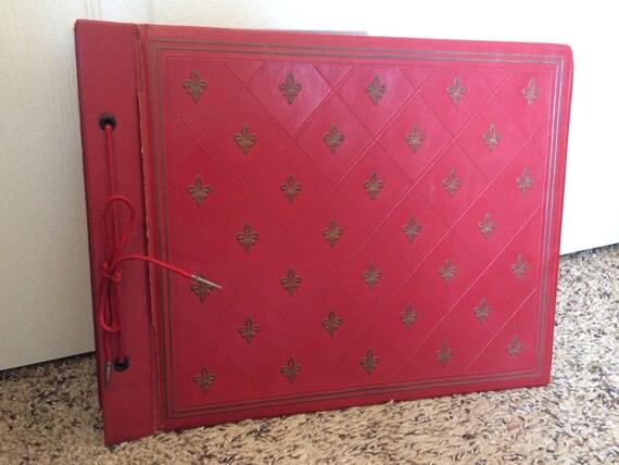 Antique 1940s Red Fleur De Lis Large 10x13 Photo Album Travel Etsy