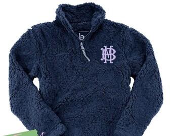 Monogram Quarter Zip Sherpa Fleece Sweatshirt Jacket Ladies with Collar Plus Size Available 2X Fuzzy Poodle