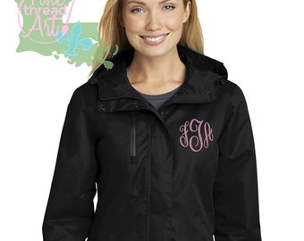 Ladies Monogram Parka Outerwear Fleece Lined Rain Coat Jacket Slicker for Ladies Zip Up with Hood Plus Size available