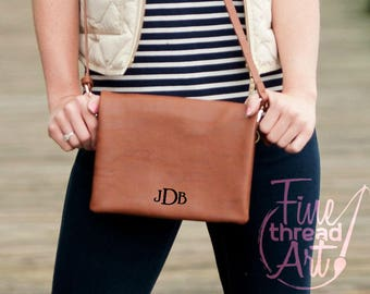 Brown Camel Cognac Crossbody Purse Bag with Gold Accents with Embroidered Monogram Personalized