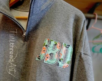 Floral Applique Circle or Block Monogram Quarter Zip Adult Sweatshirt Jacket Ladies with Collar Plus Size Available 2X 3X