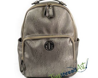 Pewter Backpack Purse Bag with Gold Accents with Embroidered Monogram Personalized Faux Leather Can Be Used as Diaper Bag too