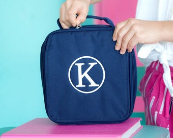 Navy Blue Lunch Bag with Monogram for Back to School Hot Pink Navy Lunch Box Zippered Insulated Match Backpack Zippered Pocket