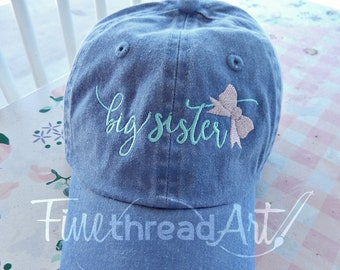 eca09e72ad1 KIDS Big Sister with Bow Monogram Baseball Cap Hat for Girls Youth Size Name  Initials Leather
