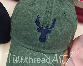 KIDS Size Deer Buck Mini Design Baseball Cap Hat Leather Strap Hunting Camp Deer Doe Hunter Boys Hat