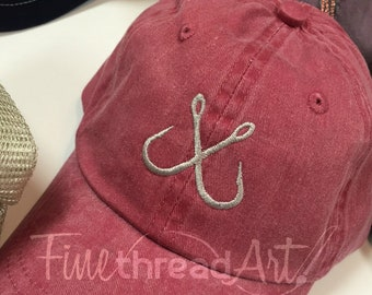 Kids or Adult Fish Hook Baseball Cap Hat for Girls Boys Youth Size Name Initials Leather Strap Fishing Boat Cruise Outdoors Boy Hat Monogram