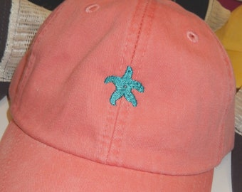 ADULT or KIDS Size Starfish Mini Design Baseball Cap Hat Leather Strap Nautical Beach Lake Cruise Coast Vacation Girls Trip Boat Sailing