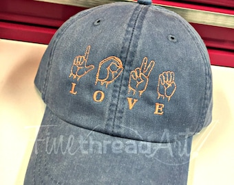 LADIES Love Sign Language Hat Baseball Cap LEATHER strap Pigment Dyed Summer Beach Vacation ASL American Sign Language Love Kind