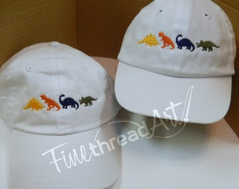 Infant or Small Toddler Dinosaur Monogram Baseball Cap Hat for Girls Boys Kids Youth Size Elastic Baby Hat Pink Blue White Twins