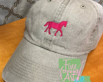 LADIES Equestrian Horse with Side Monogram Baseball Cap Hat LEATHER strap Pigment Dyed English Riding Western Horseback Jumping