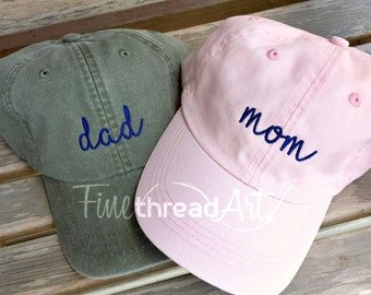 Mom and Dad Hat Baseball Cap LEATHER strap Pigment Dyed Mother Father Pregnancy Announcement Baby Shower Gender Reveal Party