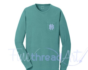 Long Sleeve Monogram Pigment Dye Pocket Tee Tshirt Pocket Sewn Plus Size up to 4XL