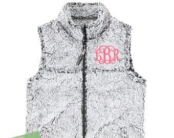 Monogram Ladies Sherpa Fleece Vest Women with Collar Plus Size Available 2X Fuzzy Poodle Fleece Zip Up