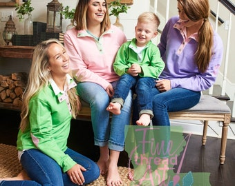 PREORDER LADIES  French Terry Seersucker Quarter Snap Pullover for Ladies Pink Green Purple Blue Monogram Gift Fall Autumn Sweatshirt Jacket