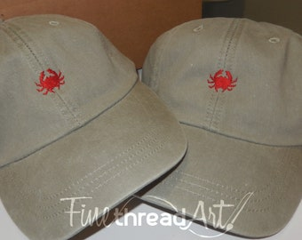ADULT or KIDS Size Crab Mini Design Baseball Cap Hat Leather Strap Nautical Beach Lake Cruise Coast Vacation Crabbing Boil Boat Low Country