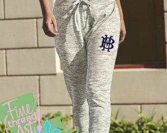 Monogram Ladies Fleece Jogger Pants Ladies Lounge Sweat Pants Work Out Athleisure Fitness Girls Trip Personalize