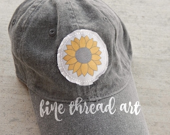 Ready to Ship Watercolor Halloween Sunflower Charcoal Gray Navy Blue Dad Hat Adult Baseball Hat Cap Fall Patch Applique Floral