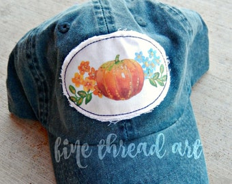Ready to Ship Watercolor Halloween Navy Blue Dad Hat Adult Baseball Hat Cap Orange Gold Jewel Tone Pumpkin Fall Patch Applique Floral
