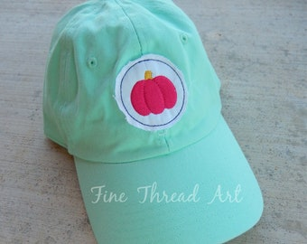Ready to Ship Halloween Dad Hat Adult Baseball Hat Cap Mint Green Hot Pink Pumpkin Fall Patch Applique