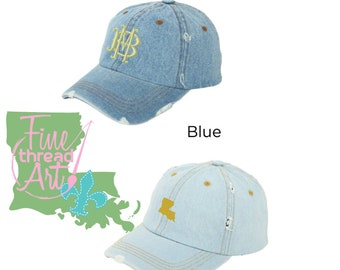 LADIES Distressed Denim Jean Hat Baseball Cap Fall  Monogram Vacation Dad Hat State Light Wash or Medium Wash