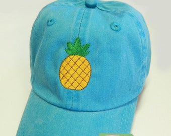 ADULT or KIDS Size Pineapple Mini Design Baseball Cap Hat Leather Strap Nautical Beach Lake Cruise Coast Vacation Aloha Island Boat Hawaii