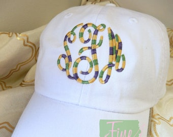 Adult or Kids Mardi Gras Monogram Baseball Cap Hat LEATHER strap Louisiana Cajun Parade Float Krewe Fleur de Lis Bayou Lafayette