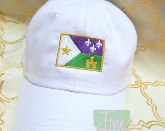 Adult or Kids Mardi Gras Acadian Flag Baseball Cap Hat LEATHER strap Louisiana Cajun Parade Float Krewe Fleur de Lis Castle Bayou Lafayette