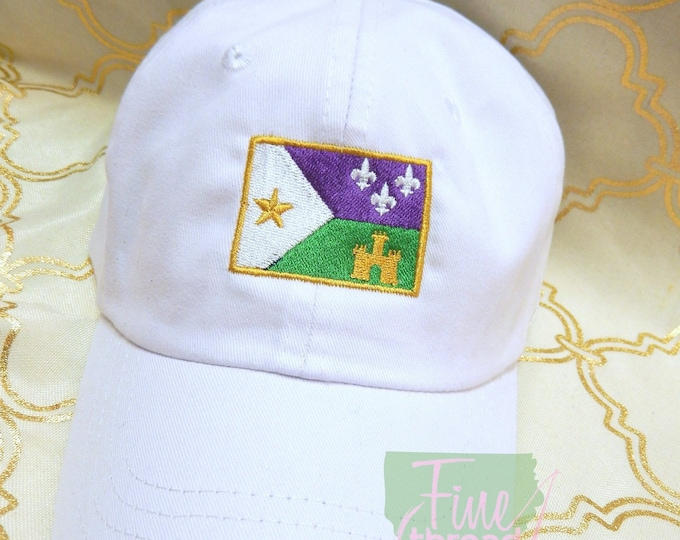 Featured listing image: Adult or Kids Mardi Gras Acadian Flag Baseball Cap Hat LEATHER strap Louisiana Cajun Parade Float Krewe Fleur de Lis Castle Bayou Lafayette