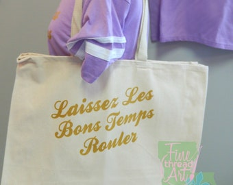 Cotton Twill Natural Canvas or Black Tote Bag Mom Mardi Gras Laissez Les Bons Temps Rouler Louisiana Parade Bead Bag Krewe New Orleans