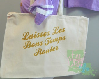 Ready to Ship Canvas Cotton Tote Bag Gold Ink Mardi Gras Laissez Les Bons Temps Rouler Louisiana Parade Bead Bag New Orleans Cajun French