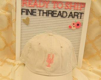 Ready to Ship Adult Unisex Ladies Men Dad Hat Baseball Hat Cap Stone Khaki with Shrimp Carnation Pink Crawfish Lobster