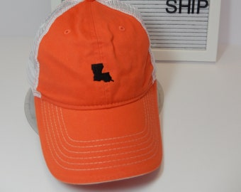 READY TO SHIP Louisiana Mini Adult Hat Orange and Black Thread Dad Hat Ladies Men Louisiana Cajun Delcambre Panther Football Mom Tailgate