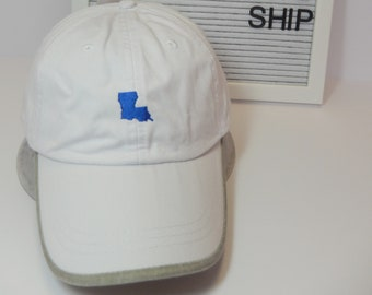 READY TO SHIP Louisiana Mini Adult Hat Royal Blue White Khaki Thread Dad Hat Ladies Men Size Louisiana Erath Bobcats Football Mom Tailgate