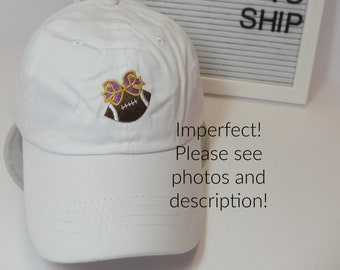 READY TO SHIP Imperfect Football Purple and Gold Bow Adult Hat Dad Hat Ladies Louisiana Football Mom Friday Night Tiger Damaged Sale