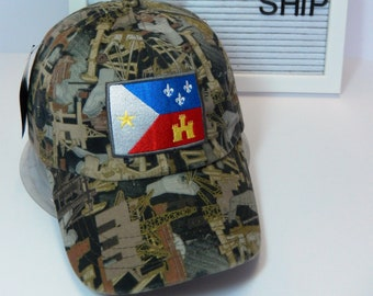 READY TO SHIP Acadian Flag Adult Hat Oilfield Camouflage Camo Dad Hat Ladies or Men Size Hunting Hunter Fishing Camping Roughneck Drilling