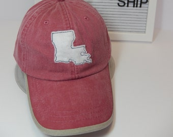 READY TO SHIP Louisiana Applique Adult Hat Vintage Red White Khaki Thread Dad Hat Ladies Men Louisiana Cajun Lafayette Football Mom Tailgate