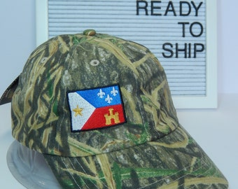READY TO SHIP Acadian Flag Adult Hat Camouflage Camo Mossy Oak Shadow Grass Dad Hat Ladies Men Size Hunting Hunter Fishing Outdoors Camping