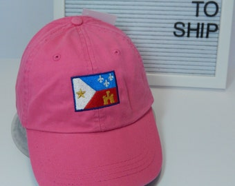 READY TO SHIP Acadian Flag Adult Hat Hot Pink Dad Hat Ladies Men Size Louisiana Cajun Lafayette Zydeco Music