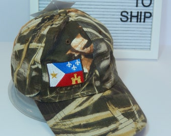 READY TO SHIP Acadian Flag Adult Hat Camouflage Camo Realtree Dad Hat Ladies or Men Size Hunting Hunter Fishing Outdoors Camping