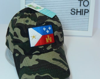READY TO SHIP Acadian Flag Adult Hat Camouflage Camo Military Dad Hat Ladies or Men Size Hunting Hunter Fishing Outdoors Camping