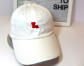 READY TO SHIP Louisiana Mini Adult Hat Red White Navy Thread Dad Hat Ladies Men Size Louisiana Cajun Lafayette Football Mom Tailgate