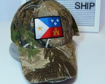 READY TO SHIP Acadian Flag Adult Hat Distressed Camouflage Camo Realtree Dad Hat Ladies or Men Size Hunting Hunter Fishing Outdoors Camping