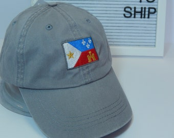 READY TO SHIP Acadian Flag Adult Hat Gray Grey Dad Hat Ladies Men Size Louisiana Cajun Lafayette Zydeco Music