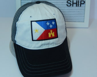 READY TO SHIP Acadian Flag Adult Hat Trucker White Black Gray Dad Hat Ladies or Men Size Mesh Back Louisiana Lafayette Cajun