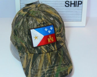 READY TO SHIP Acadian Flag Adult Hat Camouflage Camo Mossy Oak Dad Hat Ladies or Men Size Hunting Hunter Fishing Outdoors Camping