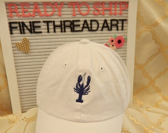 Ready to Ship Infant Baby Baseball Hat Cap White Crawfish Lobster Navy Blue