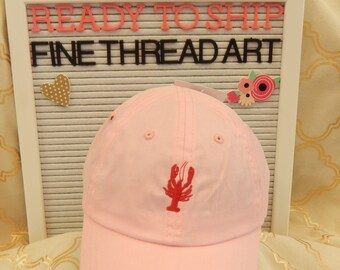 Ready to Ship Toddler Child Youth Baseball Hat Cap Pink with Red Crawfish Lobster