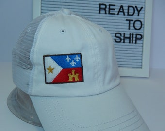 READY TO SHIP Acadian Flag Adult Hat Trucker Distressed White Dad Hat Ladies or Men Size Mesh Back